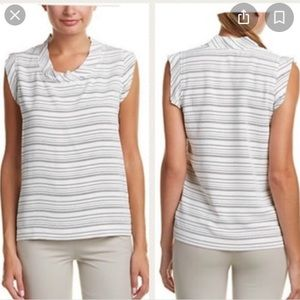 CAbi Madeline #236 White Striped Casual Scoop Smal